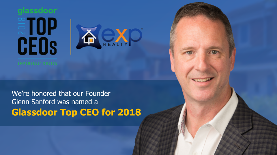 eXp Realty Founder Glenn Sanford Named a Glassdoor Top CEO in 2018